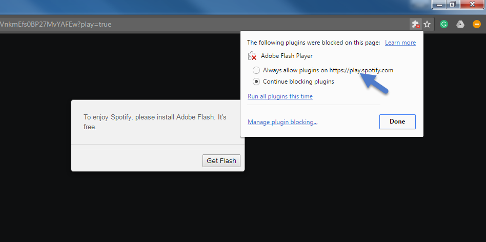 the following plugins were blocked on this page chrome