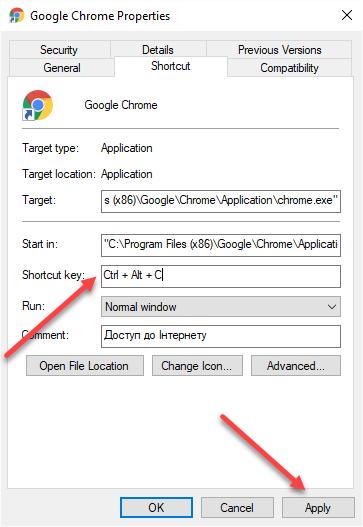 Google chrome shortcut properties screen image